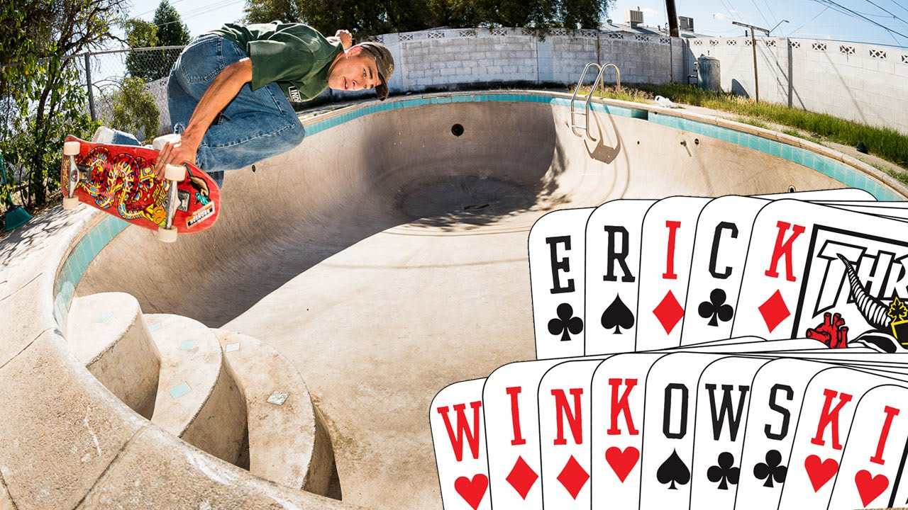 Erick Winkowski blasting a backside air over the shallow end stairs! Photo by Thrasher Magazine.